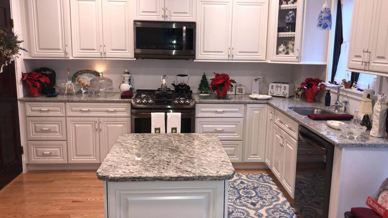 moon white granite island and perimeter - superior stone middleton mass